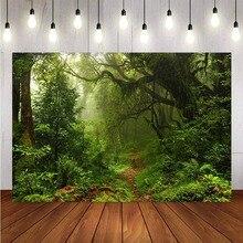 خلفية تصوير خرافية مخصصة لأشجار الغابة الخضراء القديمة ، ديكور المناظر الطبيعية للأطفال والرضع ، لافتة استوديو الصور