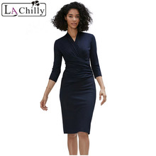 La Chilly Vestidos Casuales Mujer 2018 Autumn Ladies Dresses Black Long Sleeve Pleated Wrap Midi Dress Robe Moulante LC610256