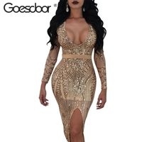 GOESDOOR Kadınlar Altın Sequins Parti Elbise Uzun Kollu Derin V Boyun Kadın Bodycon Elbise 2018 Ilkbahar Sonbahar Bölünmüş Elbiseler