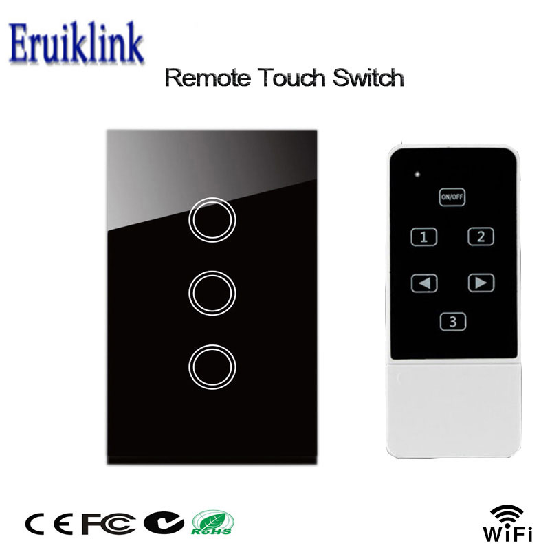 Eruiklink Smart Home Wall Light Switch,US Standard Crystal Glass Panel 3 Gang Touch&Remote Switch Compatible Broadlink Rm Pro 2017 new uk 4 gang crystal pannel rf433 wireless remote touch wall light bathroom switch for smart home via broadlink rm pro