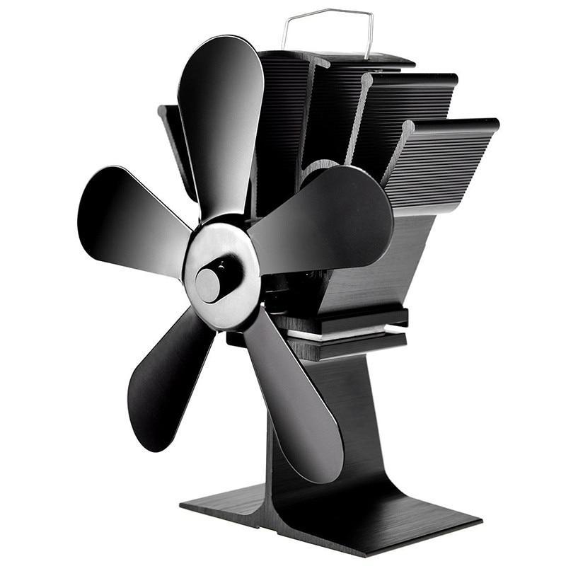 5 Blade Stove Fan Heat Fireplace FanPowered Heat Powered Log Wood Burner Friendly Quiet Fan Home Efficient Heat Distribution