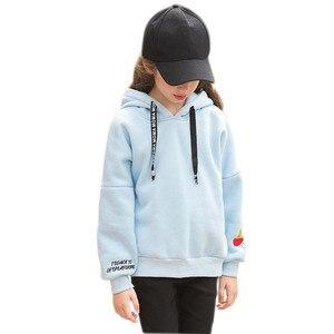 Image 3 - Teenager Mädchen Hoodies Winter Candy Farbe Sweatshirt Pullover Mit Fleece Mit Kapuze Kid Kleidung 6 7 8 9 10 11 12 13 14 15 16 jahre Alt
