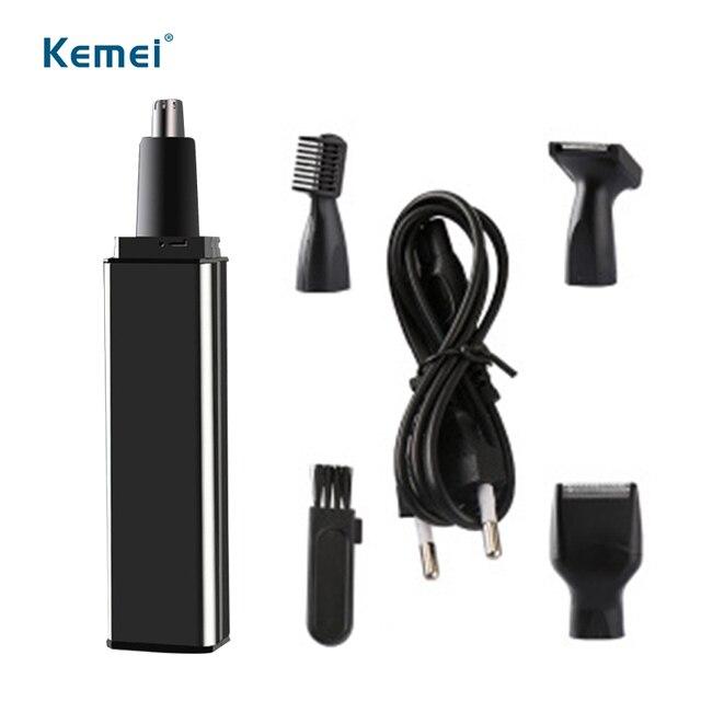 Kemei 4 in1 eletrict trimero Ricaricabile naso trimmer rasoio per le donne degli uomini del sopracciglio barba naso di rimozione dei capelli cavo USB