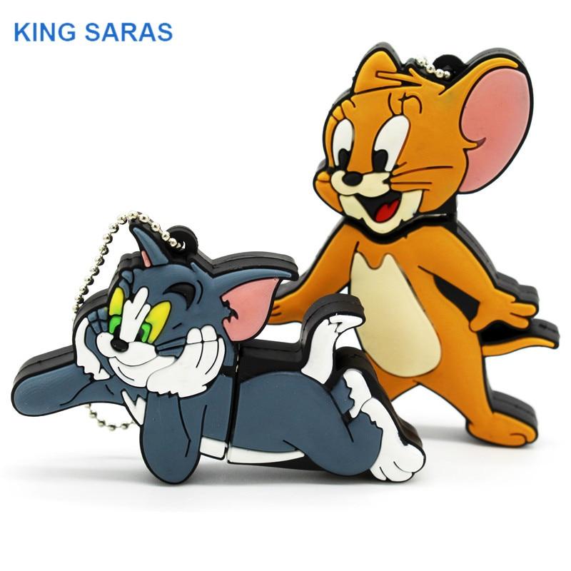 KING SARAS Cartoon Cat And Mouse Om Jerry Style Usb Flash Drive Usb 2.0 4GB 8GB 16GB 32GB 64GB Pendrive Gift U Disk