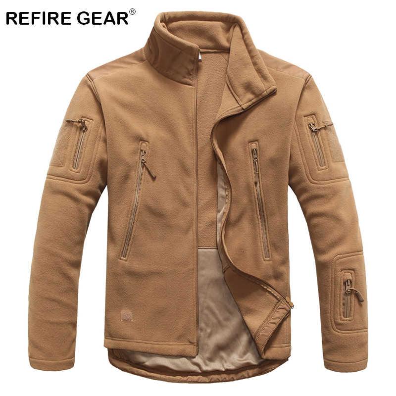 ReFire Gear Winter Outdoor Warm Tactical Fleece chaquetas hombres grueso a prueba de viento multibolsillos militar chaquetas Camping ejército ropa