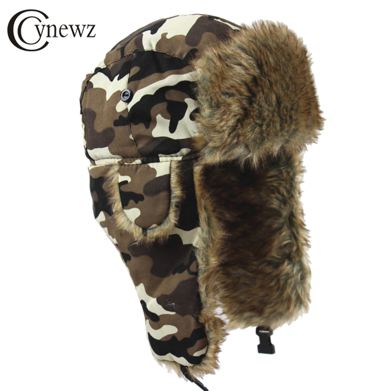 9b88caf9d48 Men Women Russian Ushanka Bomber Hats Vintage Faux Fur Trapper Hat PU  Leather Wind Proof Earflap ...