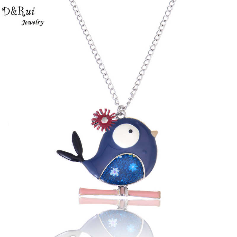 Link Chain Necklace Colorful Bird Pendant 2019 New Style Trendy Fashion Alloy Enamel Jewelry Women Charm Decoration Necklaces