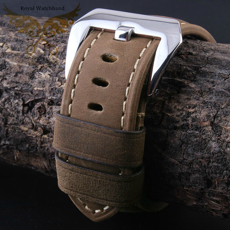 New 24mm Brown Genuine Leather Watch Band Strap Polished Deployment Stainless Steel Buckle Clasp