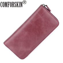 COMFORSKIN Luxurious 100% Genuine Leather Multi-Card Bit Woman Zipper Purses Famous Brand Long Large Capacity Womens Wallets