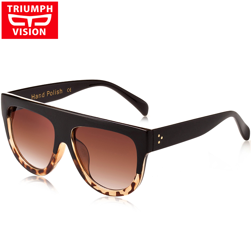 TRIUMPH VISION Flat Top Women Sunglasses Gradient Oversized Oculos Gafas de sol With Box Case Tortoiseshell Color Shades