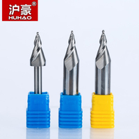 HUHAO 1pc 6mm 12mm Mini Engraving Bits Chamfer End Mill For Acrylic Glassfiber Plywood CNC Milling