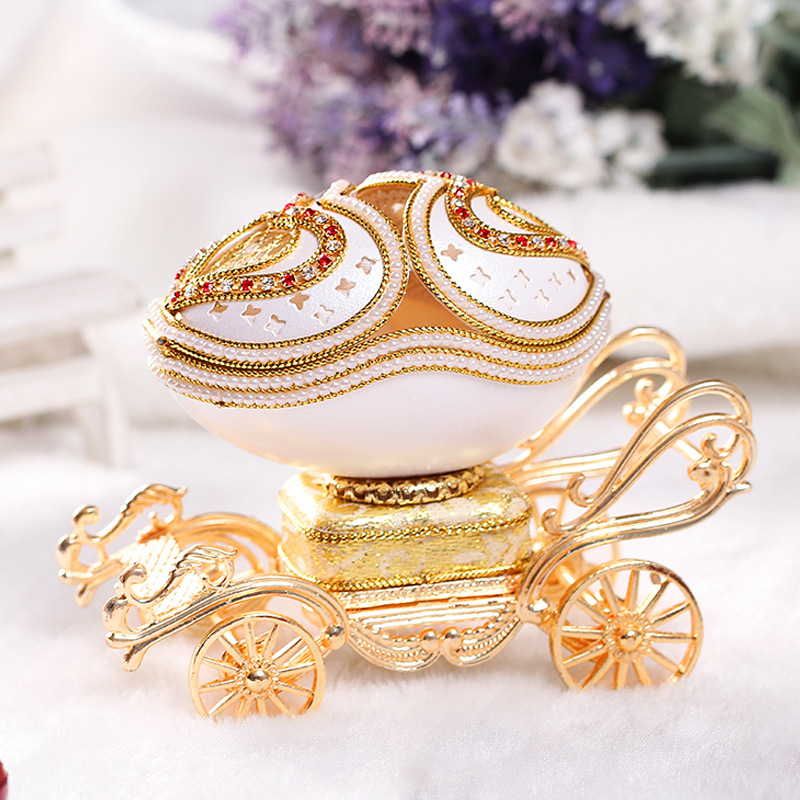 Refinement Royal Family Egg Decorating Music Box Jwel Case House And Home Furnishings Personality Creative Artware Gift L848 refinement carousel music box house and