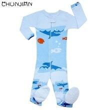 Детский комбинезон для мальчиков с изображением акулы и рыбы, Детская цельнокроеная одежда, пижама с длинными рукавами для девочек
