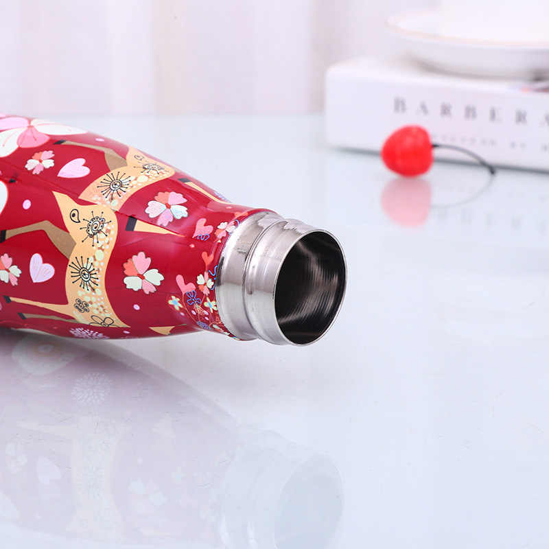 Мультфильм олень вакуум чашка, бутылка для воды 500 мл Нержавеющаясталь изолированный кофе термос переносной Путешествия Спортивная бутылка для питья подарок