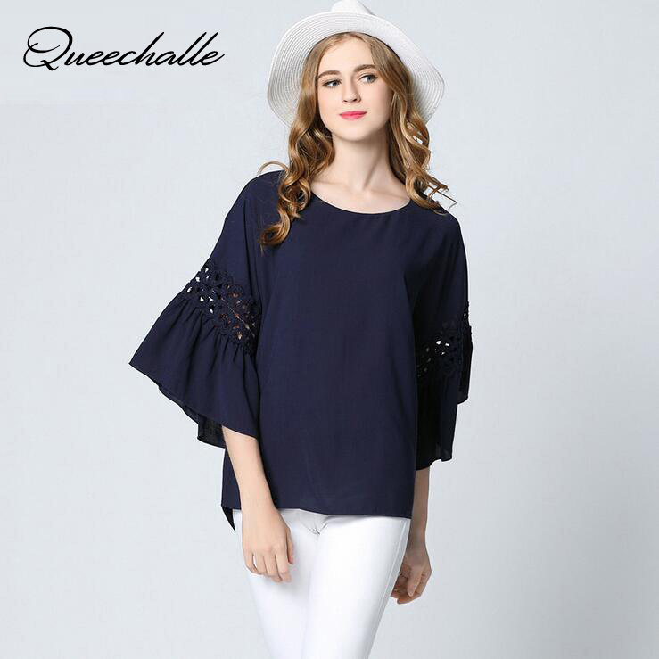 Big Size Flare Sleeve Casual Women   Blouses   Summer Navy White Color loose ladies   shirts   3XL 4XL 5XL Plus Size   Blouse     Shirt   Tops