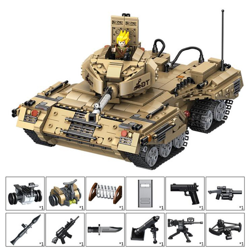 1435pcs 2 In 1 Deformation Military Tank Building Blocks Kit Toys Children Birthday Christmas Gifts