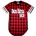 Dem Boyz 93 Т Рубашки мужские Красный Плед Одежды Длительного стороны Молнии Футболка Уличная Канье Уэст Хип-Хоп Т рубашка