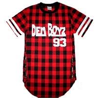 Dem Boyz 93 T Shirt Men S Red Plaid Clothing Extended Side Zipper T Shirt Streetwear