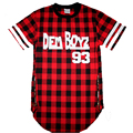 Dem Boyz 93 T Shirt Men's Red Plaid Clothing Extended Side Zipper T Shirt Streetwear Kanye West Hip Hop T Shirt