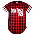 Dem Boyz 93 T Shirt Men's Red Plaid Clothing Extended Side Zipper T Shirt Streetwear Kanye West Hip Hop T Shirt