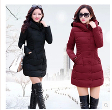 2016 latest ladies fashion with thick warm winter coats Pure color hooded long-sleeved jacket Big yards loose office  coat D0255