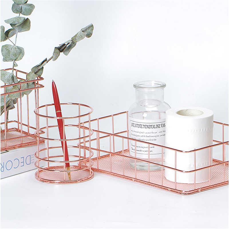 Cobre Cesta De Armazenamento de Higiene Pessoal Organizador Cosmetic Pincéis de Maquiagem Titular Fio de Metal em Ouro Rosa Coleção Cestas Prateleiras Do Banheiro