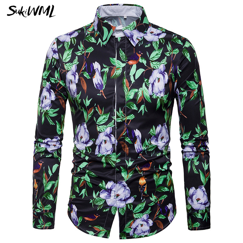 SUKIWML Floral Print Men Shirts 2018 New Casual Flower Men Dress Shirts Long Sleeves Men Clothing Slim Fit Chemise Homme M-3XL ...