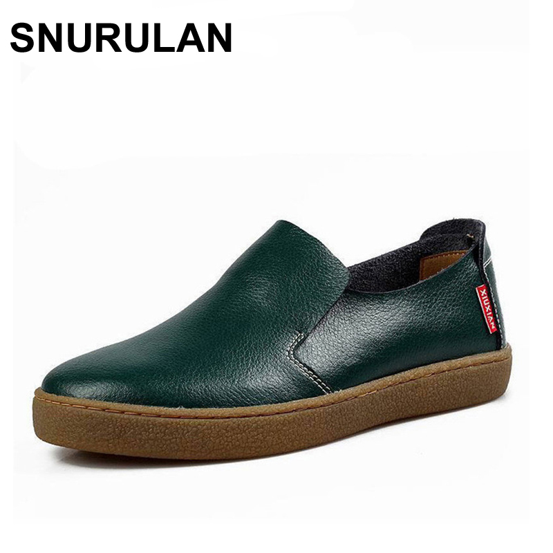 SNURULAN High Quality Genuine Leather  Loafers Slip-On Casual Shoes Luxury Brand Driving Shoes Solid women Flats Footwear top brand high quality genuine leather casual men shoes cow suede comfortable loafers soft breathable shoes men flats warm