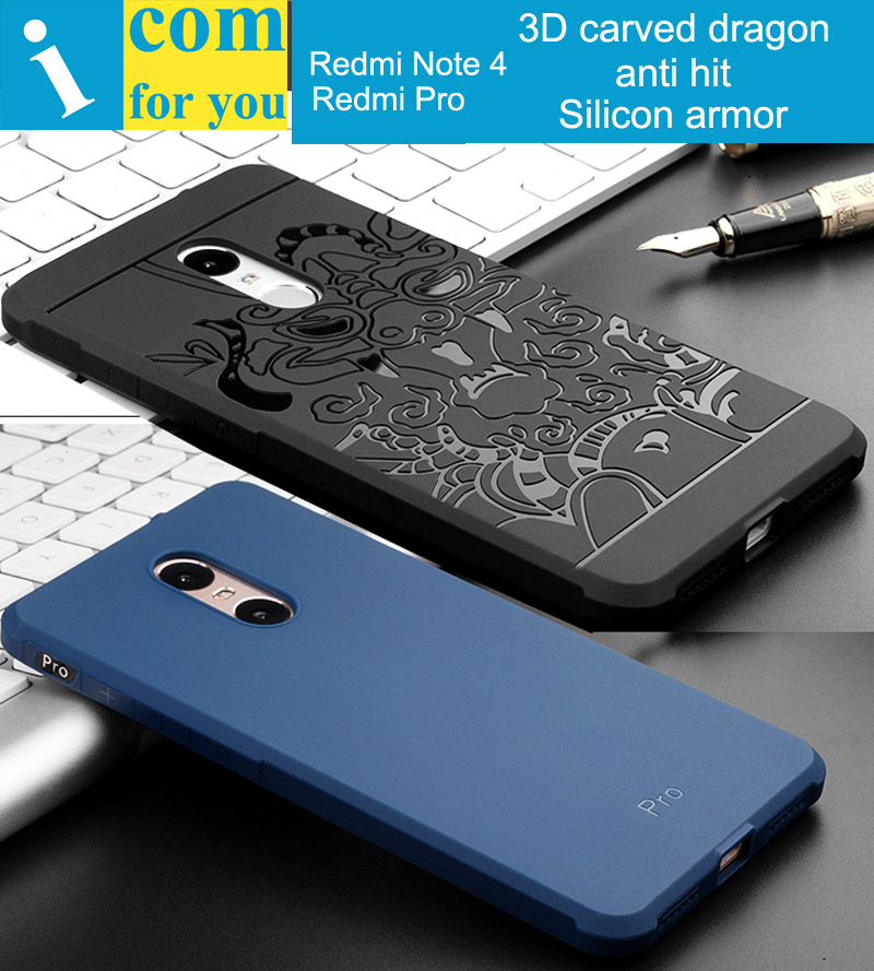 Drop resistance Armor anti hit Case For Xiaomi Redmi Note 4 Note4 3D carved Dragon Silicone