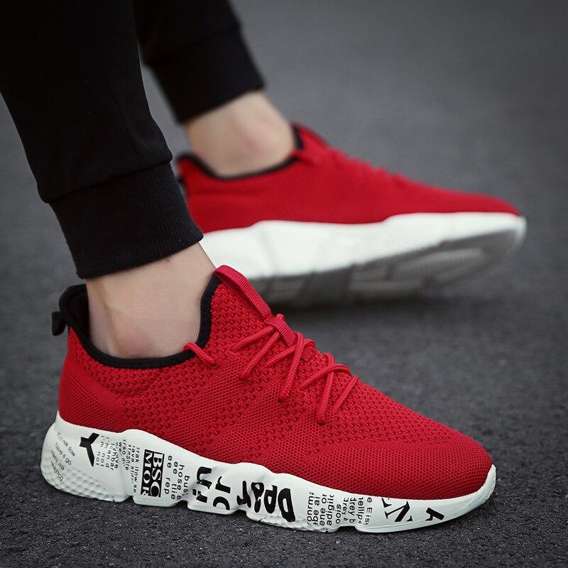 LZJ Size 46 Damping Vulcanize Shoes Men Letters Design Mesh Sneakers Male Outdoor Walking Shoes Tenis Lace Up Vulcanize