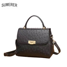 SUWERER 2019 New Superior cowhide women genuine leather bags Embossed ostrich pattern Fashion luxury tote bag