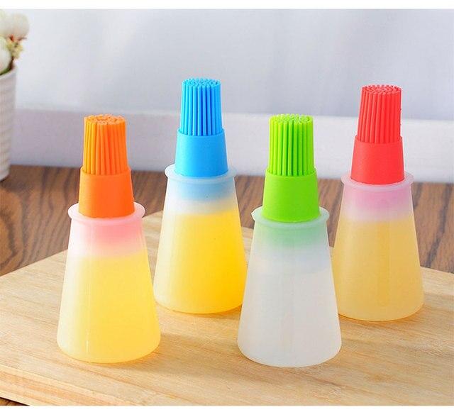 1 pz Griglia Olio Bottiglia di Olio Pennelli Silicone Liquido Penna Torta di Pan
