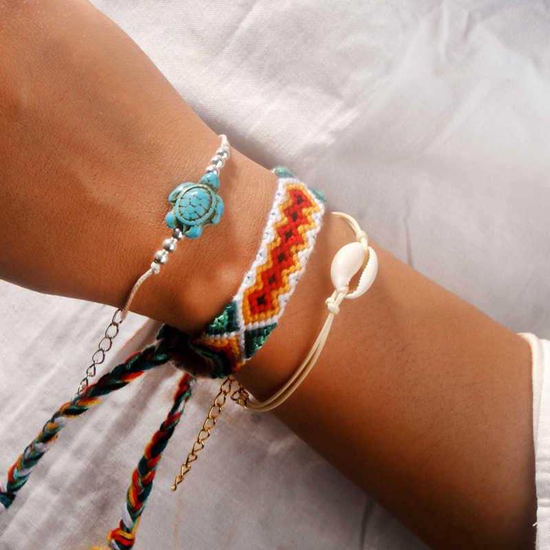 Moon girl 3 sztuk Shell Turtle zestaw bransoletek tkane Boho bransoletki robione ręcznie dla kobiet Chic przyjaźń Boho Pulseras Dropshipping