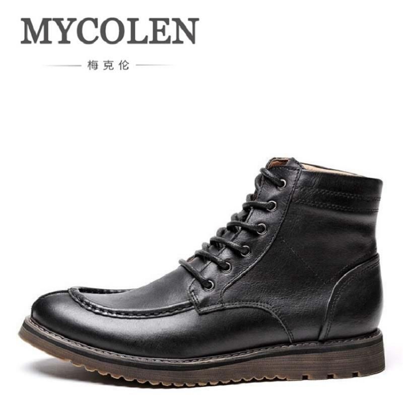 MYCOLEN Brand New Winter Vintage Motorcycle Boots Brown Men Martin Shoes Men Snow Cowhide Leather High Top Boots Chaussure martin winter boots for men and men s winter snow boots warm cashmere waist leather shoes in winter thickening