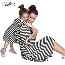 2017 Mother Daughter Dresses Casual Spring Summer Striped Family Look Matching Clothes Cotton Mom And Daughter