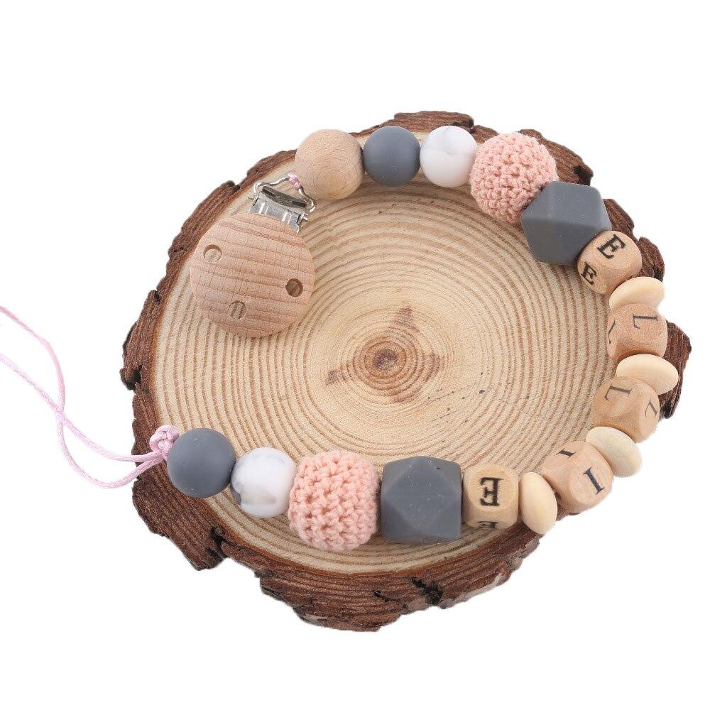 1pc Schnuller Kette Clip Personalisierte Name Baby Beißring Geschenke Holz Nagetier Nippel Halter Perle Silikon Perlen Childen'S Waren