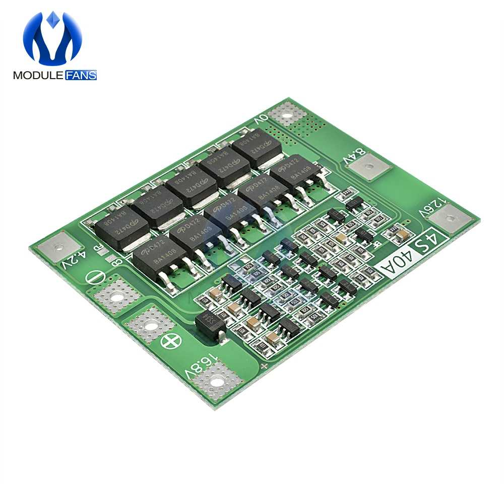 4S Placa de protección de batería de litio de 40 a 18650 cargador PCB BMS para motor de taladro 14,8 V 16,8 V mejora el módulo electrónico Diy