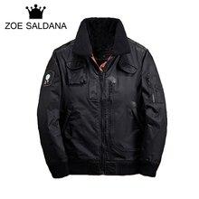 Zoe Saldana Men Parkas 2017 New Winter Coats Epaulet Men's Badge Pattern Parkas Fashion Streetwear Outerwear Plus Size