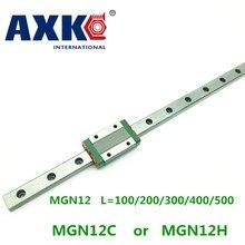 AXK livraison gratuite Guide linéaire 12mm Mgn12 L = 100/200/300/400/500mm + glissière Mgn12c ou Mgn12h chariot Long pour Cnc X Y axe Z