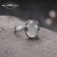 GLSEEVO S925 Sterling Silver Ring Đá Tự Nhiên Jade Atmosphere Vintage Dát Trắng Chalcedony Lady Mở Vòng Trang Sức GR0056