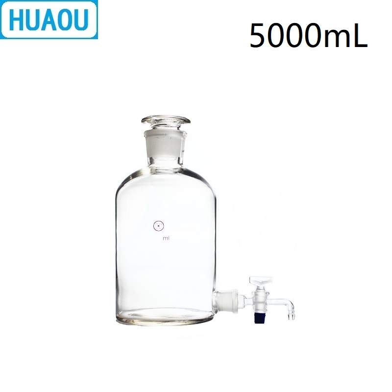 HUAOU 5000mL Aspirator Bottle 5L Transparent Clear with Ground - In Glass Stopper and Stopcock Distilled Water Wine Liquor 5000ml glass bottles of distilled water labware