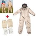Unisex Baumwolle Imker Bee Anzug Smock Imkerei Kostüm + Bienenzucht Schutz Ziegenleder Handschuhe Grau + Weiß Sicher Kleidung