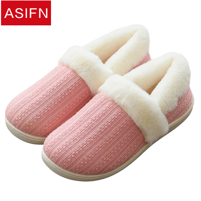 0d4715bbcfcf ASIFN Women Men Winter Plush Cute Slippers Flip Flops Plush Warm Fur Ladies  Shoes Lovers Sapato Feminino Female Soft Slipper