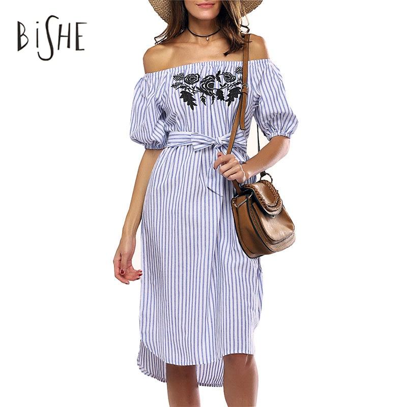 Perder BiSHE Vestido Ocasional de Las Mujeres de Verano de Rayas Sin Espalda Ves