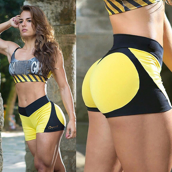 2018 Summer Yoga Shorts Women Sexy Skinny Red Love Patchwork Yoga Shorts High Waist Sport Fitness Gym Shorts Women Short Femme 1