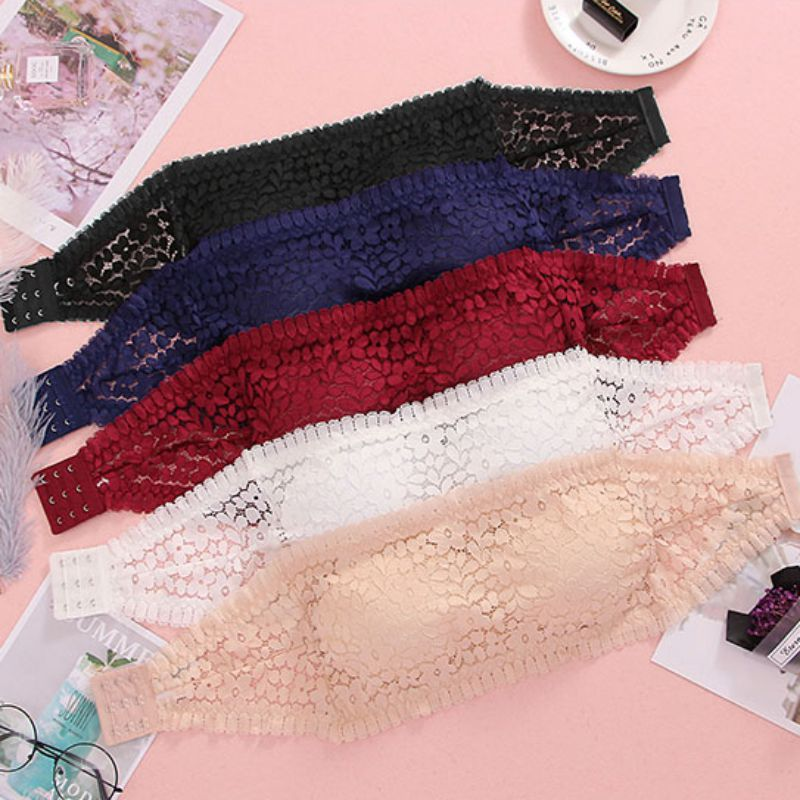 Invisible Strapless Lace Bras Bralette Underwear Vest Breathable Women Padded Bra Sexy Push Up Ladies Lingerie Crop Tops Tank