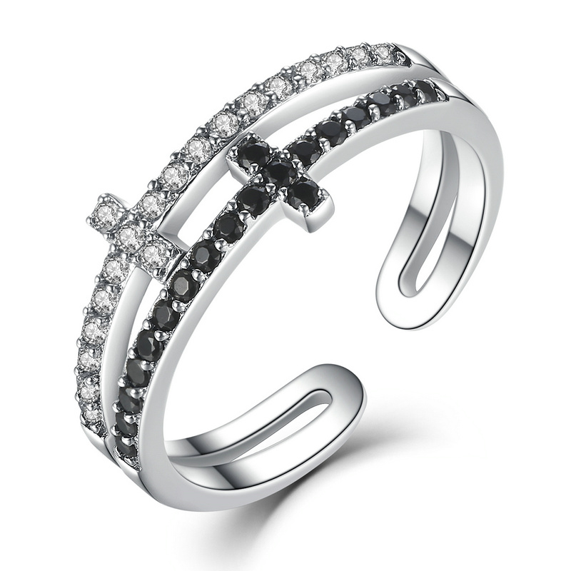 LJP New Collection 925 Sterling Silver Double Layer Cross Symbol Finger Ring for Women Sterling Silver Jewelry SNSCR035
