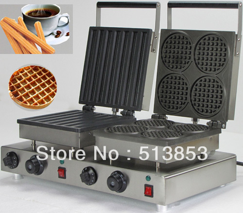 Stainless steel doulbe-Head Electric Churros Machine; Round Waffle Maker and bar-shaped Machine Baker directly factory price commercial electric double head egg waffle maker for round waffle and rectangle waffle