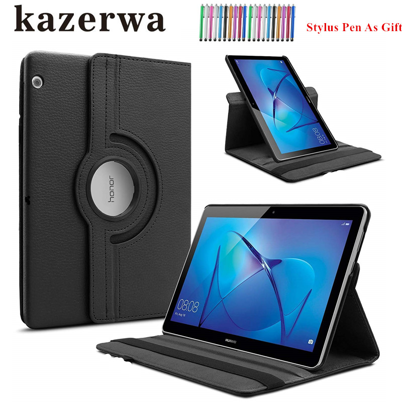 360 Rotating Leather Cover Case for Huawei MediaPad T3 10 AGS-W09/AGS-L09 t3 9.6 Smart Stand Case for Honor Play Pad 2 9.6 Capa