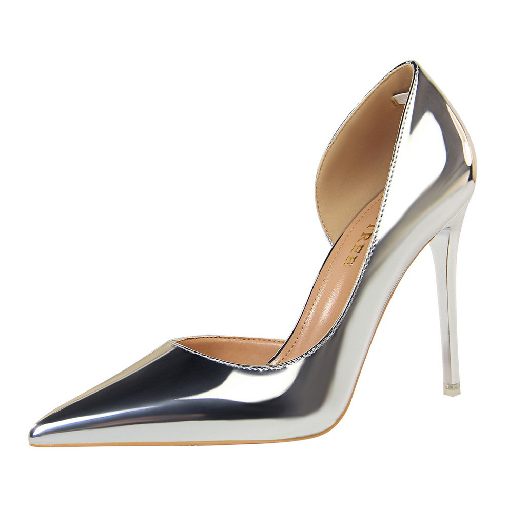 Women Pumps Shoes PU Leather Pointed Toe Shallow Slip-On 10.5cm Thin High Heel Solid Sexy Lady Club Party Female Shoes Plus Size